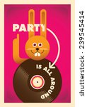 Party poster with comic bunny. Vector illustration. - stock vector