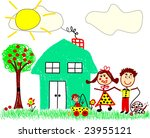 vector happy family drawing | Shutterstock .eps vector #23955121