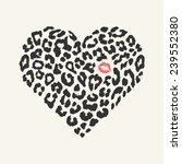 Vector Heart Shape   Leopard...