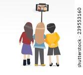 three people selfie together...   Shutterstock .eps vector #239553160