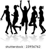 girls in funny poses silhouette ... | Shutterstock .eps vector #23956762