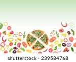 tasty pizza and ingredients... | Shutterstock . vector #239584768