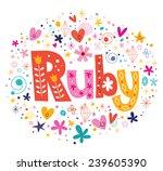 ruby female name decorative... | Shutterstock .eps vector #239605390