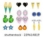 set of earrings on white... | Shutterstock .eps vector #239614819