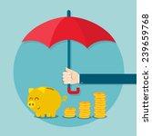 hand holding umbrella to... | Shutterstock .eps vector #239659768
