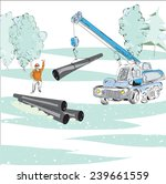 illustration of working crane ... | Shutterstock .eps vector #239661559