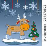 reindeer in the snow with a... | Shutterstock .eps vector #239670523