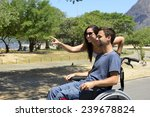 disabled man in wheelchair and... | Shutterstock . vector #239678824