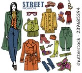 fashion illustration in sketch... | Shutterstock .eps vector #239685394