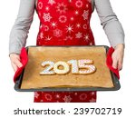 woman wearing red apron holding ... | Shutterstock . vector #239702719
