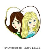 two lesbian girls on a white... | Shutterstock .eps vector #239712118