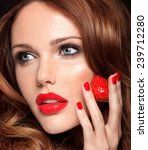 beautiful young model with red... | Shutterstock . vector #239712280