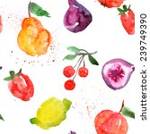 background  watercolor  fruit | Shutterstock . vector #239749390