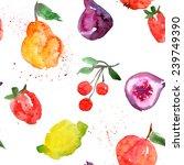 background  watercolor  fruit | Shutterstock . vector #239749390