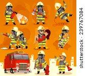Set Of Cartoon Fireman Doing...