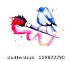 watercolor bird | Shutterstock .eps vector #239822290
