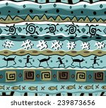 seamless tribal pattern in blue ... | Shutterstock .eps vector #239873656