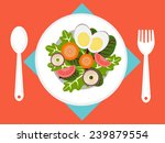 fresh salad on dish | Shutterstock .eps vector #239879554