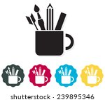 stationary in a cup icon  ... | Shutterstock . vector #239895346