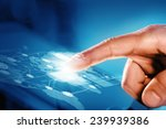 close up of human hand touching ... | Shutterstock . vector #239939386