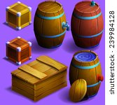 set of wooden barrels and boxes....