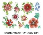watercolor flowers in different ... | Shutterstock .eps vector #240009184