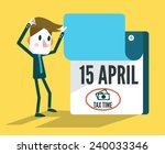 Tax Time Calendar. Flat Design...