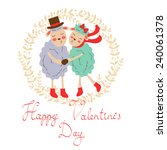 happy valentines day with cute... | Shutterstock .eps vector #240061378