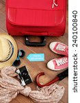 suitcase and tourist stuff with ... | Shutterstock . vector #240100840