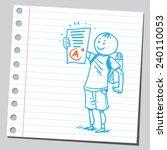 schoolkid holding school exam... | Shutterstock .eps vector #240110053