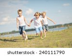 three children playing on... | Shutterstock . vector #240111790