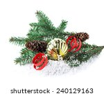 christmas decoration on a white ... | Shutterstock . vector #240129163