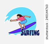 surfer's drawing on the... | Shutterstock . vector #240144763
