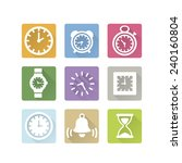 time clock icons set with shadow | Shutterstock .eps vector #240160804