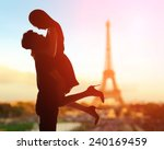 silhouette of romantic lovers... | Shutterstock . vector #240169459