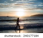 womand with tropical sunset on... | Shutterstock . vector #240177184