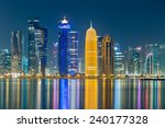 Stock photo the towers of doha cornice at night 240177328
