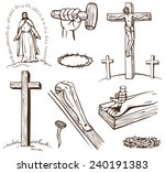 paintings of the crucifixion of ... | Shutterstock .eps vector #240191383