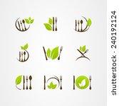 vector organic food cutlery... | Shutterstock .eps vector #240192124