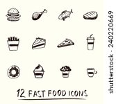 hand drawn 12 different fast... | Shutterstock .eps vector #240220669