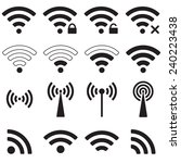 wifi or wireless icon set for... | Shutterstock . vector #240223438