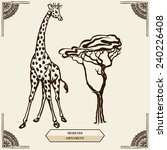 Tall Giraffe And Tree. Floral...