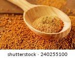 Mustard Powder In Wooden Spoon...