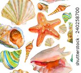 Seamless Pattern With Sea Shell....