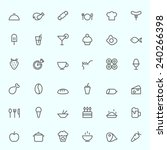 Food icons, simple and thin line design