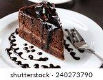 Yummy Chocolate Cake Served On...