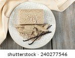 sunflower halva on plate  on... | Shutterstock . vector #240277546