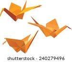 paper origami cranes   vector | Shutterstock .eps vector #240279496