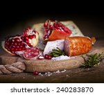 salami with spice sliced on... | Shutterstock . vector #240283870