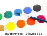 watercolors and brushes... | Shutterstock . vector #240285883